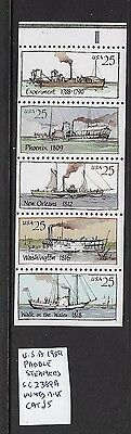 USA 1989 Paddle Steamers booklet pane MNH