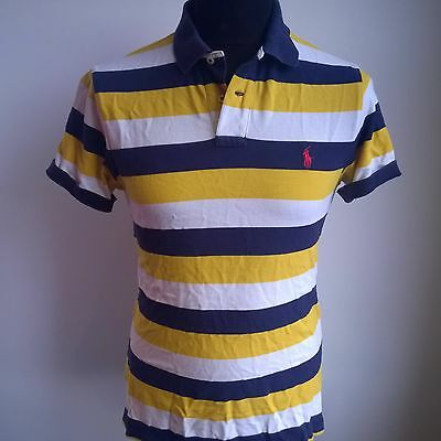 Yellow Blue White Striped Polo Shirt Ralph Lauren Jersey Size Adult M