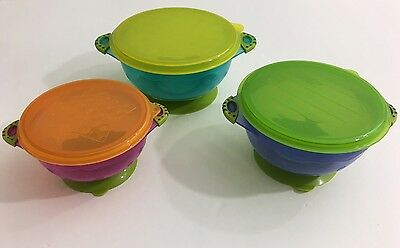 Baby Toddler Suction Bowls Set (3) Feeding Snack Bowls Non Slip Bowls Lids New