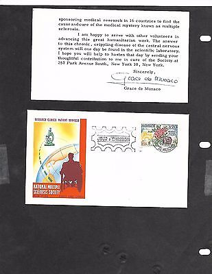 Monaco National Multiple Sclerosis Society FDC with card signed Grace de Monaco