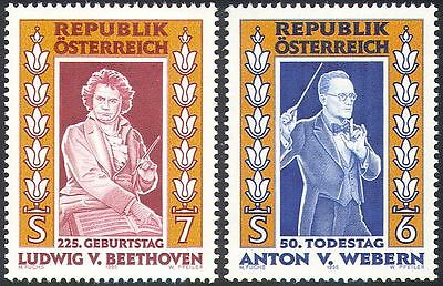 Austria 1995 Beethoven/Webern/Music/Composers/People/Entertainment 2v set n42001