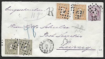 Netherlands Indies covers 1889 uprated R-cover Semarang to Leipzig