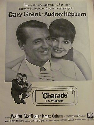 Charade, Cary Grant, Audrey Hepburn, Full Page Vintage Promotional Ad