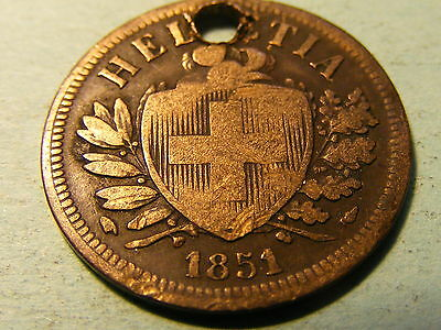1851 Switzerland 2 Rappen Coin  - Holed