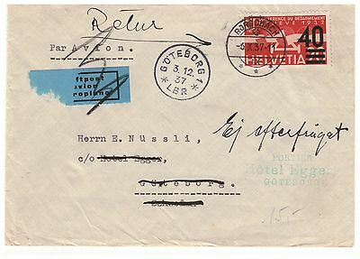 SWITZERLAND HELVETIA 1932 AIR 20c SURCHARGED IN 1937 40c VERY FINE USED ON COVER