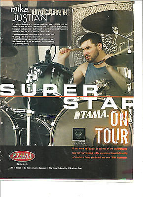 Unearth, Full Page Promotional Ad, Mike Justian, Tama Drums