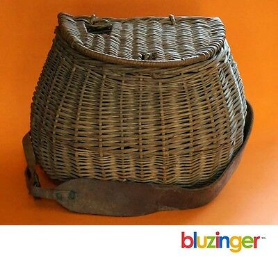 Vintage Hand Woven Trout Fishing Creel Basket w/ Leather Shoulder Harness