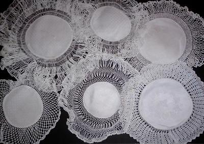 6 Vintage White Irish Linen Crochet Edged Assorted Sizes/styles/etc Doilies