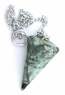 Natural Emerald Pendulum Silver Colored Chain Reiki Metaphysical EBS6690