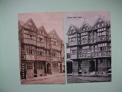 LUDLOW, Shropshire - Feathers' Hotel - 2 old postcards