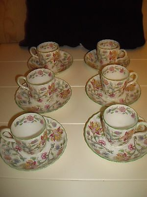 Minton 'haddon Hall' Set 6 X Expresso Coffee Cups And Saucers