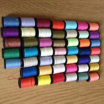 Mix of 47 Small Cotton Reels Various Colours