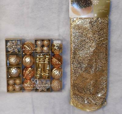 """Gold Glimmer & Glisten Tree Skirt & 50 Ornaments~Jaclyn Smith~ NWT's~52"""""""