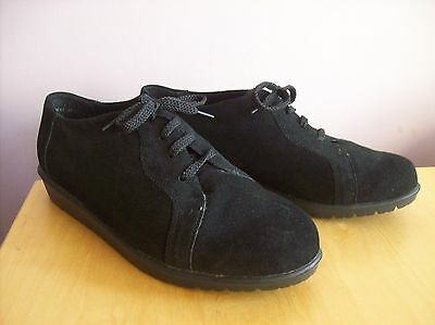 Shoe Tailor Size 8 -  42 Black Suede Lace Up Moulded Sole Casual Shoes