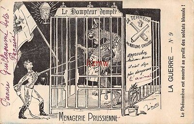 Ww1 'menagerie Prussienne' German Monster In Cage Poked By Soldier Art Card