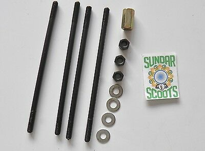 CYLINDER NUT/STUD KIT - EXTRA LONG SET -18cms - SUITABLE FOR LAMBRETTA SCOOTERS