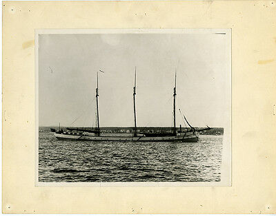 Vintage 8x10 mounted photo 1900s unknown Great Lakes schooner-barge