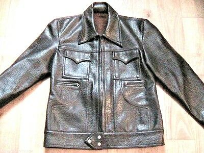 FRENCH 1960s MEN WESTERN JACKET -FAUX LEATHER & WOOL LINING- MADE IN FRANCE -S/M