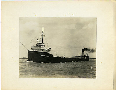 Vintage 8x10 mounted photo 1900s Great Lakes vessel Robert Fulton