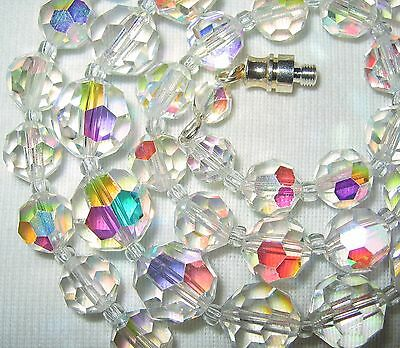 """18"""" Long Vintage 50S/60's Czech Ab Aurora Borealis Crystal Glass Beads Necklace"""