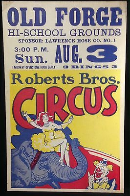 Vintage Window Card Poster Roberts Bros Circus High School Grounds Old Forge Ny