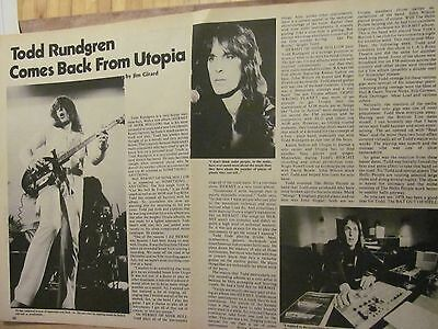 Todd Rundgren, Two Page Vintage Clipping