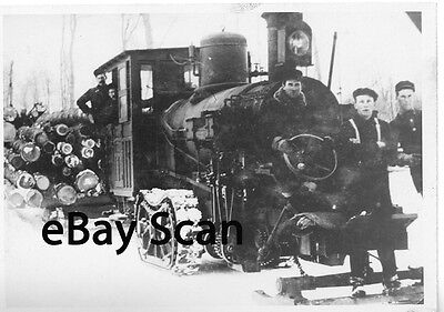 Vintage 4x3.5 photo logging with a steam engine 1900s - transportation-trains