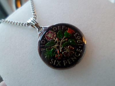 Vintage Enamelled Sixpence Coin 1963 Pendant & Necklace. Great Birthday Gift