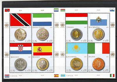 a122 - UNITED NATIONS - SGV470-477 MNH 2007 FLAGS & COINS MEMBER COUNTRIES