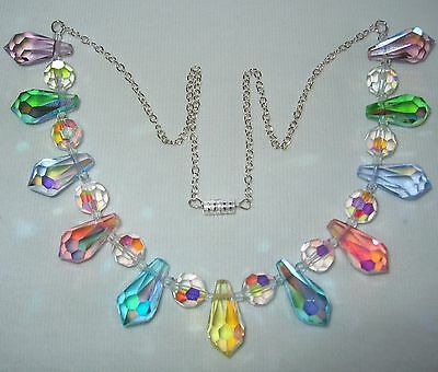 Very Pretty Vintage 1950's /60's Ab Crystal Glass Teardrop Beads Chain Necklace