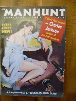Manhunt  Detective Story Monthly  August  1954  Charles Williams story