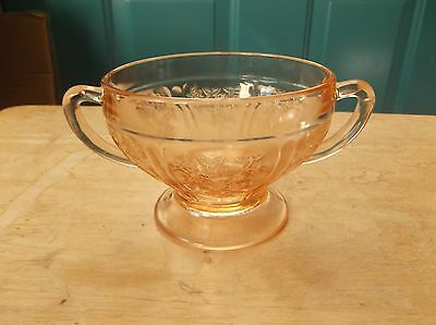 Federal Glass Sharon or Cabbage Rose Pink Depression Glass Sugar Bowl