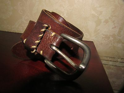 Brown Distressed Leather Belt Size  Medium By M&S
