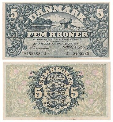 Five Crowns Danish banknote issued in 1942 J xf