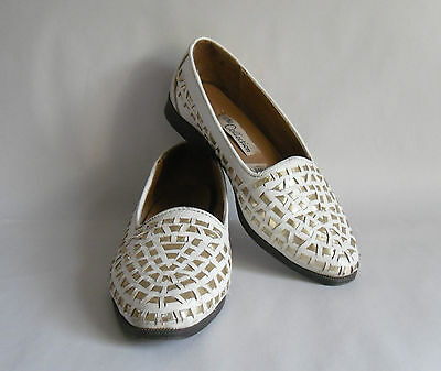 Vintage White & Gold Ladies Shoes by The Collection. Evening Style. UK3/ Eur 36