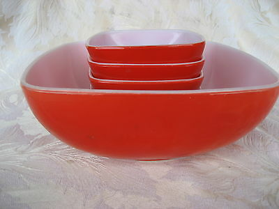 Fabulous Set of 5 Pyrex Square Red Bowls