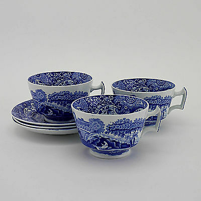 Three Copeland Spode's 'Blue Italian' Oval Mark Large Breakfast Cups & Saucers