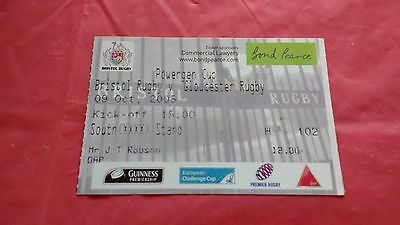 Bristol v Gloucester 2005 Powergen Cup Used Rugby Ticket
