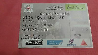 Bristol v Leeds Tykes 2005 Used Rugby Ticket