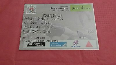 Bristol v Ospreys 2005 Powergen Cup Used Rugby Ticket