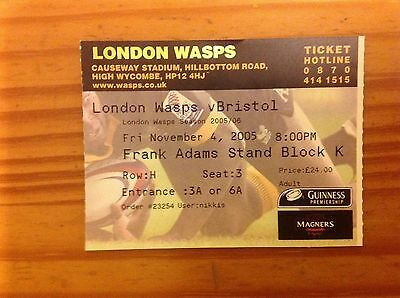 London Wasps v Bristol 2005 Used Rugby Ticket