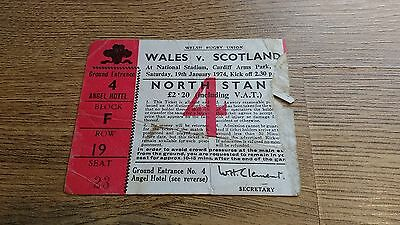 Wales v Scotland 1974 Used Rugby Ticket