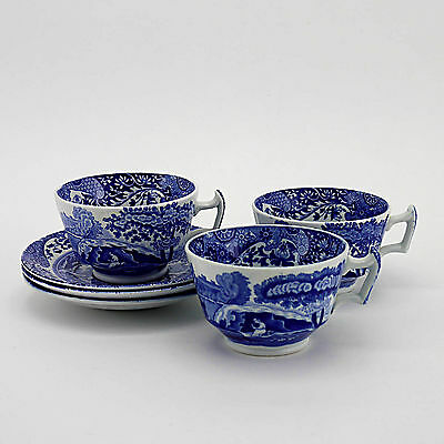 Three Copeland Spode's 'Blue Italian' Duos (3 Cups & 3 Saucers)