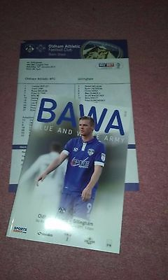 Oldham Athletic v Gillingham programme 14 1 17 + team sheet. MINT.