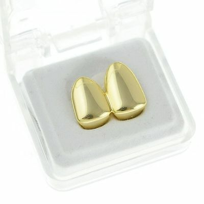 Grillz 24k Gold Plated Double Hip Hop Bling Tooth Cap gangster teeth