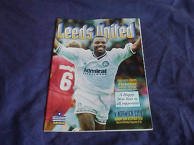 Football Programme LEEDS UTD v NORWICH CITY F.A. Premier League 28/12/92