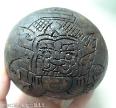 Old   Thai  Phra Rahu  Giant  Carved Coconut Shell Buddha Amulet Talisman