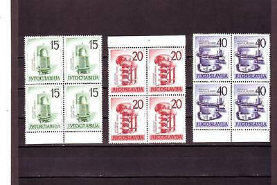 Yugoslavia - Sg966-968 Mnh 1960 Nuclear Energy Exhibition - Blocks Of 4 Cv £138