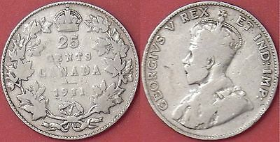 Very Good 1911 Canada Silver 25 Cents