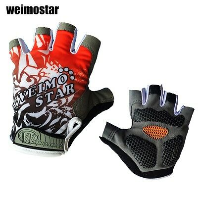 Red Outdoor Bike Half FInger Glove Vélo GEL Antichoc Sport Finger Moitié Gants